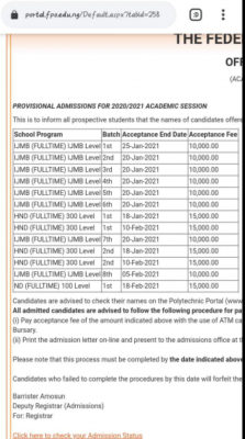 Offa Poly ND admission lists, 2020/2021 now on school portal