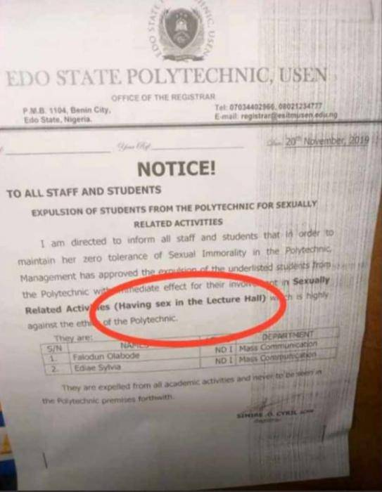 2 Edo State Polytechnic Students Expelled For Breaking the School Rules