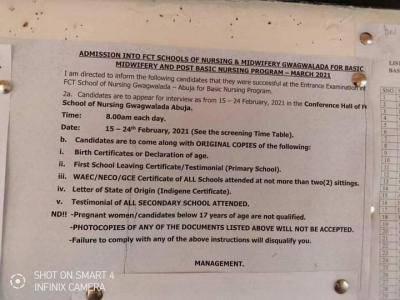 FCT School of Nursing interview date for Post-basic Nursing admission, 2021