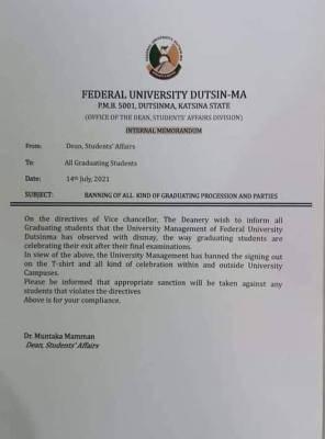FUDutsinma bans all kinds of graduating procession and parties