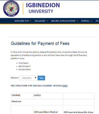 Igbinedion University school fees for 2020/2021 session