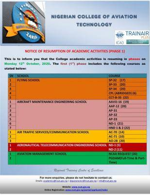 NCAT Zaria announces resumption of academic activities