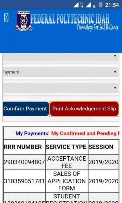Federal Polytechnic Idah, Goof in Spelling ''Acknowledgement'' and Confirm on their Portal