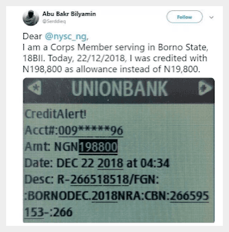 Corps Member Cries Out After He Was Credited #198,800 Instead of #19,800