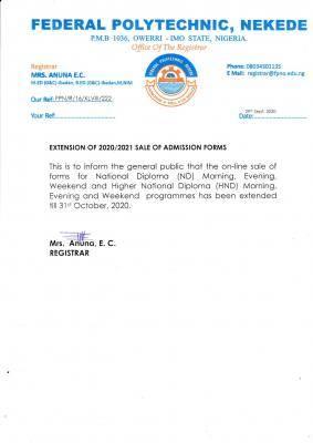 Fed Poly Nekede extends Post-UTME registration for 2020/2021 academic session