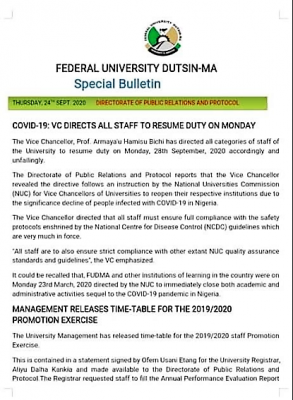 FUDutsinma directs all staff to resume on Monday, Sept 28th