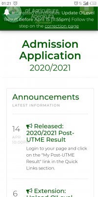 FUNAAB Post-UTME results for 2020/2021 session