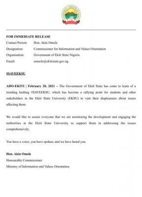 Ekiti State Government press release on #saveEksu