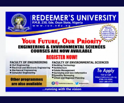 Redeemers University now offers courses in Engineering and Environmental Sciences