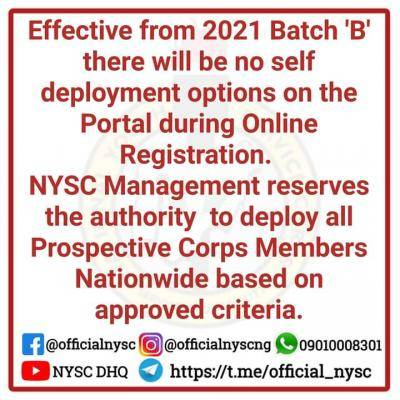 NYSC notice to prospective corps members