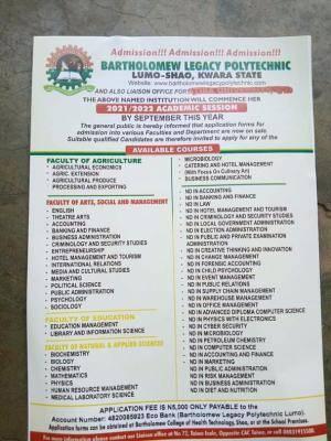 Bartholomew Legacy Polytechnic admission, 2021/2022 session