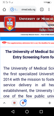 UNIMED supplementary admission list for 2020/2021 session
