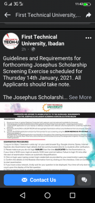 First Technical University notice on guidelines and requirements for Josephus scholarship screening