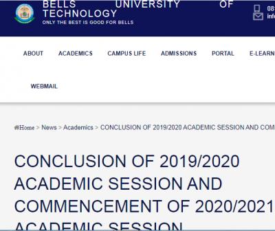 Bells University resumption and revised academic calendar
