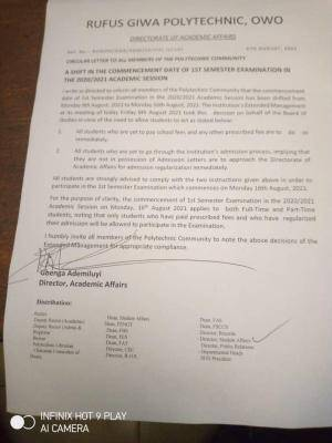 RUGIPO reschedules 1st semester examination for 2020/2021 session