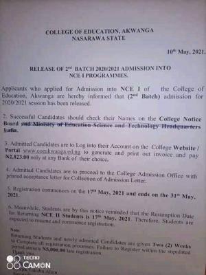 College of Education, Akwanga 2nd Batch admission list, 2020/2021