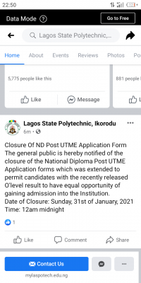 LASPOTECH notice on closure Of ND Post UTME application portal, 2020/2021