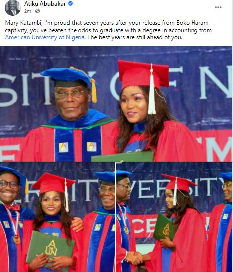 Former Chibok school girl graduates from AUN