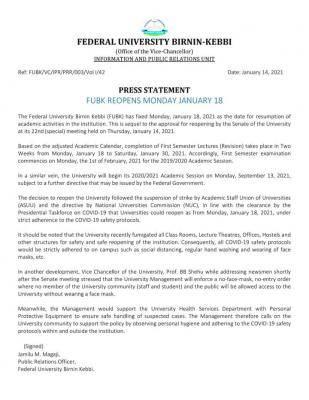 FUBK notice on resumption of academic activities