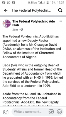 Federal polytechnic. Ado-Ekiti gets new deputy Rector