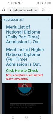 EDEPOLY HND full-time Admission List, 2020/2021