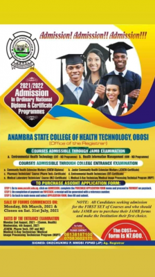 Anambra State College of Health Technology, Obosi 2021/2022 admission