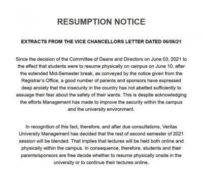 Veritas University latest resumption update