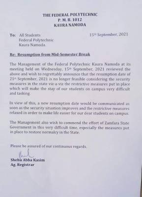 Kaura Polytechnic postpones resumption from mid-semester break
