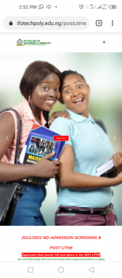 IFOTECH Post-UTME form for 2021/2022 session is out