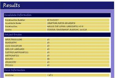 WAEC Result: Female Student Hits 8 A's and 1 B
