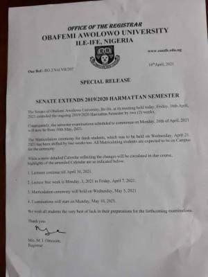 OAU Senate extends 2019/2020 harmattan semester