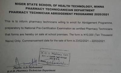 Niger State School of health Technology Pharmacy Technician abridgement form ,2020/2021