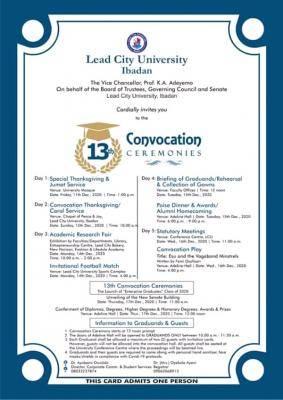 Lead City University announces 13th convocation ceremony