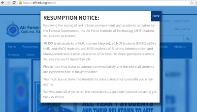 AFIT to resume academic activities October 12th