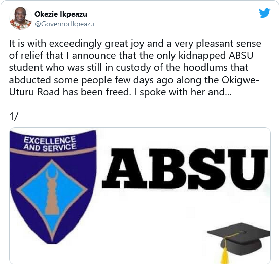 Abducted ABSU student regains freedom