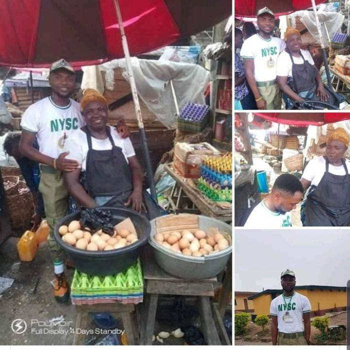 Corps Member Shows-off his Mother who Sells Eggs
