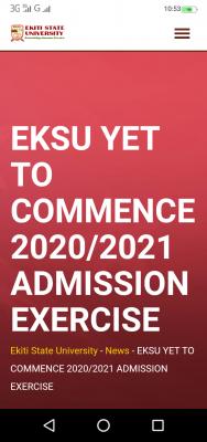 EKSU is yet to commence 2020/2021 admission exercise - Management