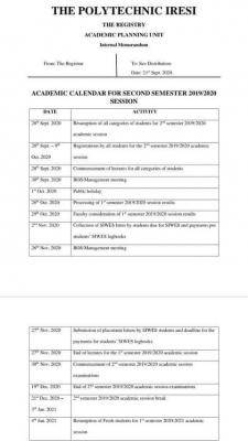 College of Technology, Iresi second semester academic calendar, 2019/2020