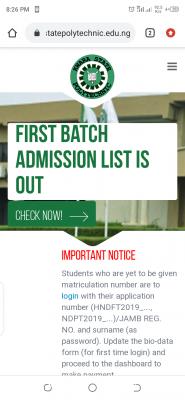 Kwara State Polytechnic 1st Batch admission list (ND/HND), 2020/2021 out