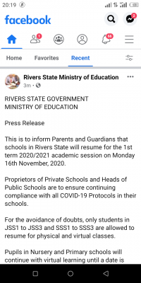 Rivers State notice on 1st term 2020/2021 resumption