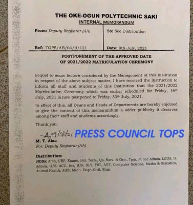The Oke Ogun Polytechnic postpones matriculation for 2021/2022 session