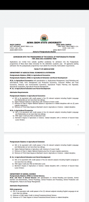 AKSU Postgraduate Admission form for 2020/2021 session