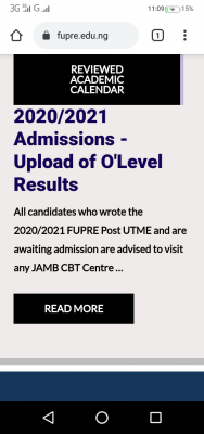 FUPRE notice on O'Level result upload to 2020 post-UTME candidates