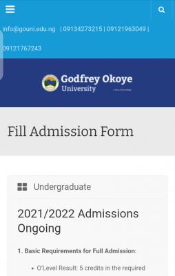 Godfrey Okoye University Post-UTME 2021: Eligibility, Cut-off Mark and Registration Details