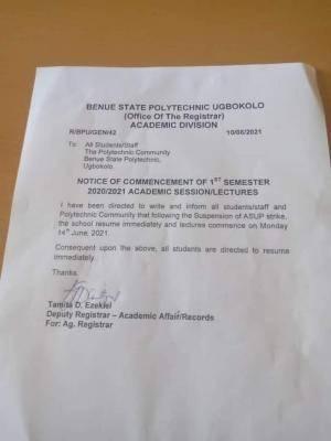 BENPOLY announces resumption for 1st semester, 2020/2021