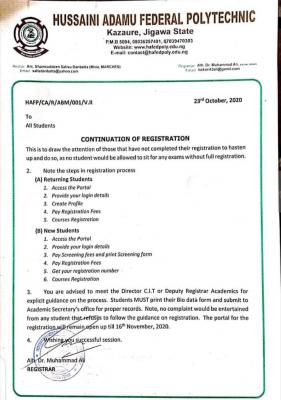 Hussaini Adamu Federal Polytechnic notice on Continuation of registration