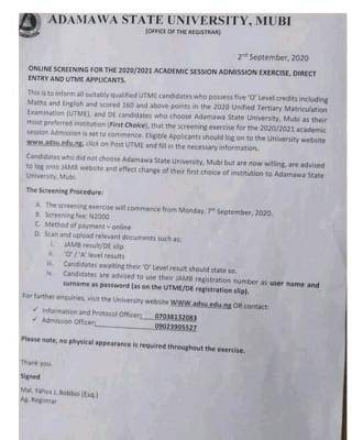 ADSU Post-UTME/DE 2020: Cut-off mark, Eligibility and Registration Details