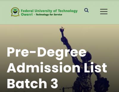 FUTO 3rd pre-degree admission list, 2020/2021