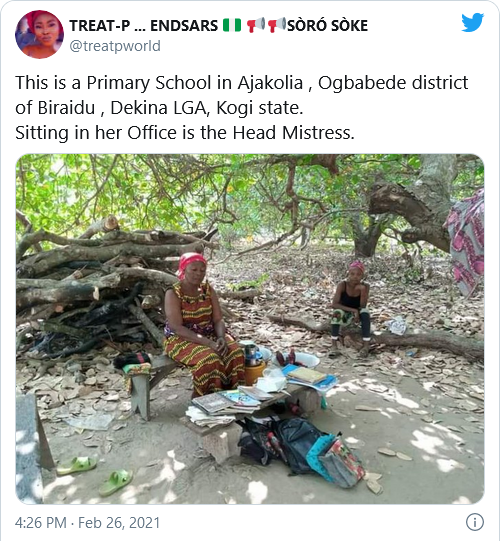 Viral photos of a headmistress office sited under a tree