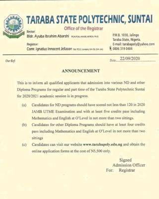 Taraba State Polytechnic Post-UTME 2020: Cut-off mark, Eligibility and Registration details